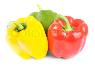red,green, yellow pepper isolated on white background