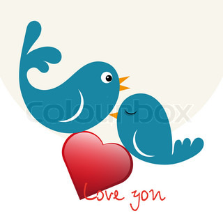 Beautiful birdie in love with heart