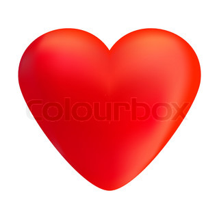 Red volumetric heart isolated on white background