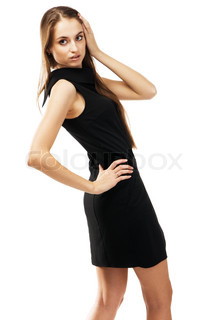 Fashion model in black dress, white background