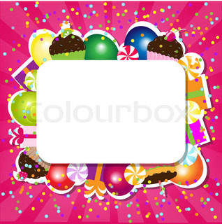 Birthday Color Card, Vector Illustration