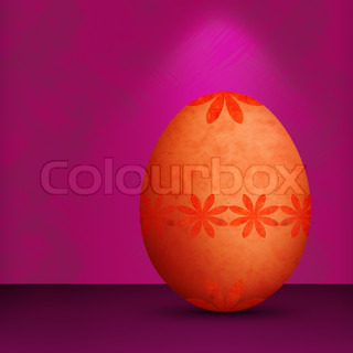 Festive Orange Easter Egg With Retro Flower Pattern & Grunge Texture With Purple Background and Lighting