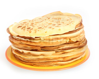 lot of pancakes isolated on white