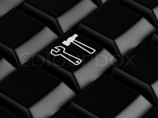 3d rendered illustrationBlack keyboard with tools symbol