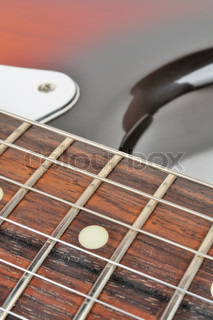 Electric Guitar Strings Close Up