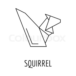 Origami Squirrel Icon Outline Style