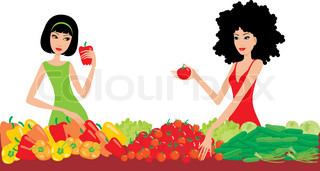 Two women buy vegetables