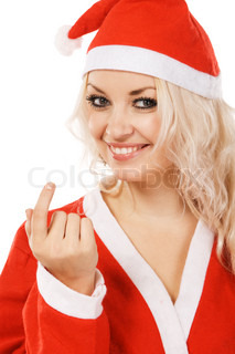 Beautiful woman in santa costume, white background