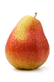 Single red-green pear, isolated, white background