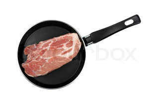 piece of raw meat in a frying pan isolated on white background