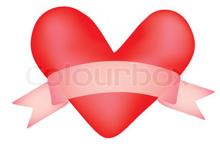valentine with banner scroll vector illustration
