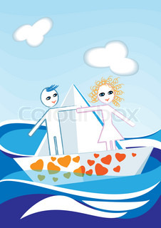 On a paper boat floats couple of paper dolls