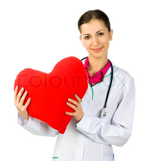 Doctor taking care of red heart symbol