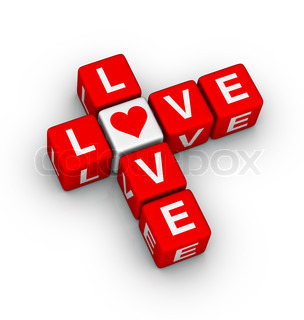 love crossword design element for valentines day