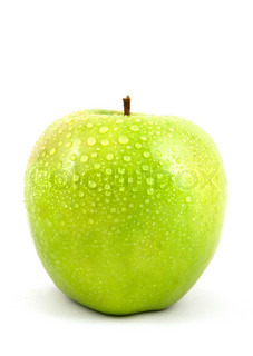 apple with drop water on isolated
