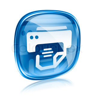 printer icon blue glass, isolated on white background