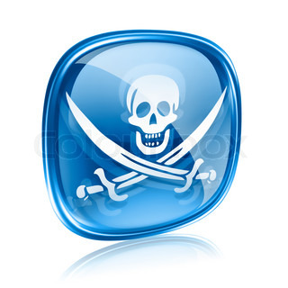 Pirate icon blue glass, isolated on white background