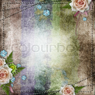 Two frames on vintage background with ribbon and beige rose