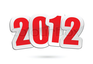 vector illustrations of new year greetings for 2012.