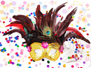 Carnival mask with confetti on white background