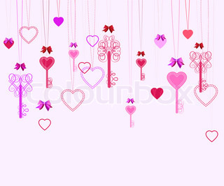 Pink Valentine background with keys and hearts