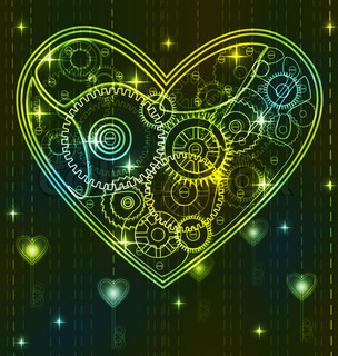 Mechanical black and green Valentine heart with key