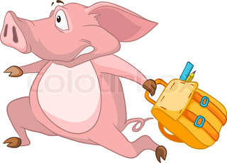 Cartoon Character Pig Isolated on White Background