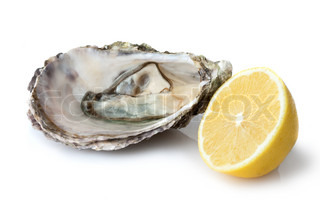 Opened oyster with lemon