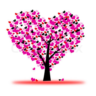 Pink valentine tree, love, leaf from hearts