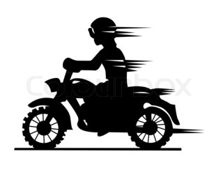 motorcyclist silhouette on white background