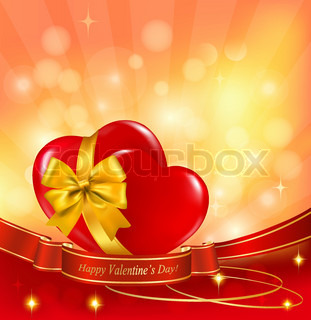 Valentine`s day background. Two red hearts with a ribbon. Vector illustration.