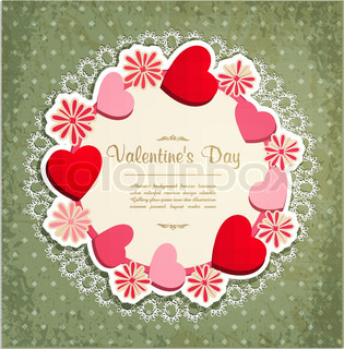 vector vintage frame with hearts and flowers to Valentine's Day
