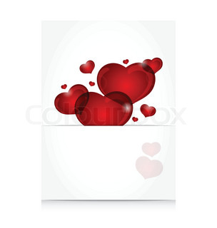 Illustration romantic letter with cute hearts - vector
