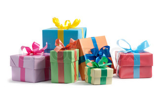 color gift boxes on white background