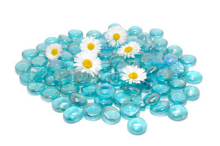 Beautiful Daisy Flowers with Blue Glass Stones Isolated on White Background