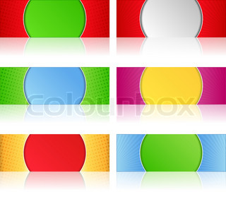 Vector set of banners with reflection