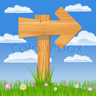 Wooden arrow on the blue sky background, vector illustration