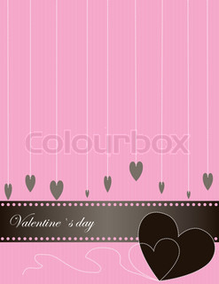 Abstract Valentine Background with many heart and ribbon