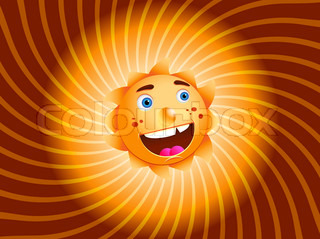 Smiling Sun, Isolated On White Background, Vector Illustration