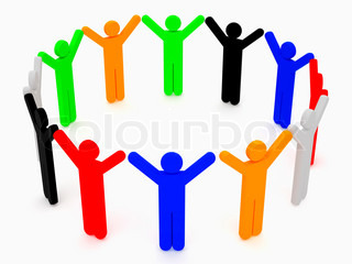 Group of friends over white background 3d rendered illustration High resolution image