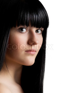 beautiful young girl with long black hair on white background