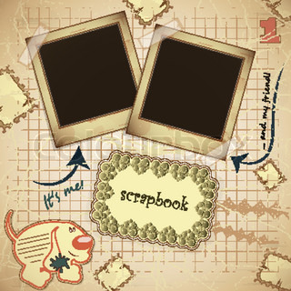 Vintage card with photo frame andplace for text - scrapbook style - vector illustration
