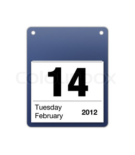 calendar icon for valentines day on 14th February