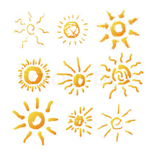 Sun symbol illustration hand drawn