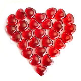 Large heart made of small glass hearts
