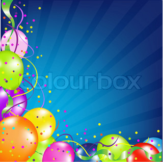 Birthday Background With Balloons And Sunburst, Vector Illustration