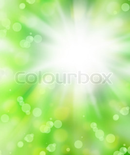 Fresh green abstract spring background with bokeh effect
