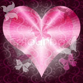 Dark pink valentines frame with heart, curls and butterflies vector EPS 10
