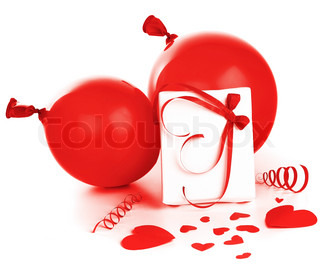 Gift box with red hearts & baloons isolated on white background, conceptual image of love & Valentine's day holiday