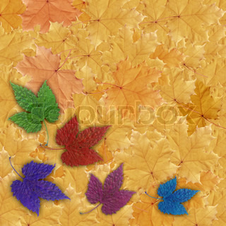 Abstract natural background, colorful painting leaves of plants